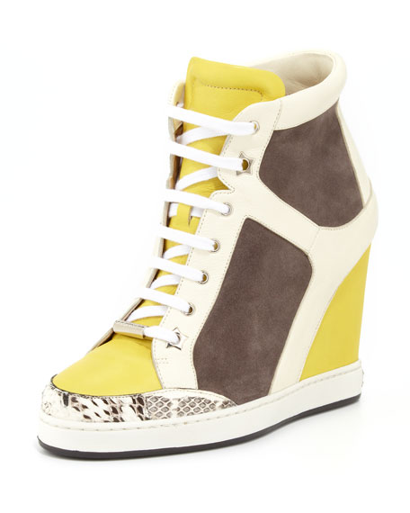 Panama Suede-Patent Wedge Sneaker, Pebble/Yellow