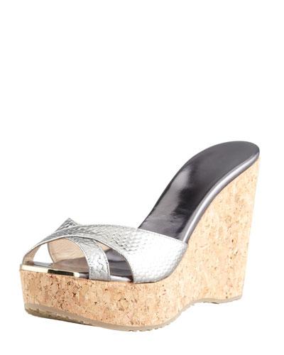 Jimmy Choo Perfume Metallic Crisscross Cork Wedge Slide, Anthracite