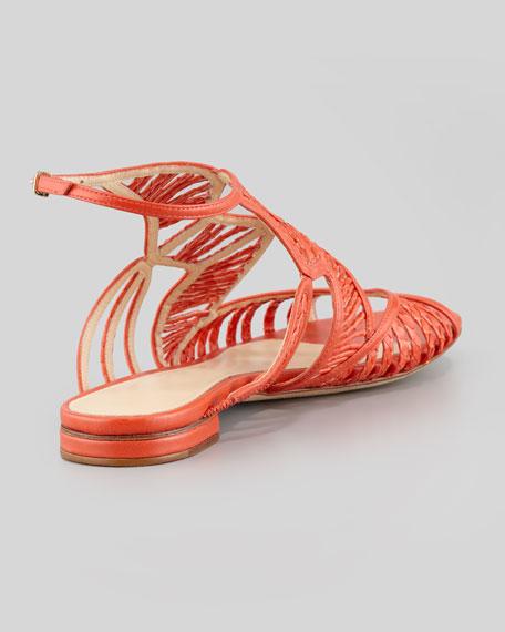Strappy Snakeskin Sandal, Coral