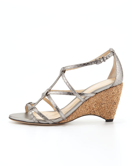 Strappy Snakeskin Wedge Sandal, Pewter