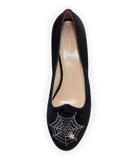 Charlotte's Web Embroidered Velvet Slipper, Black