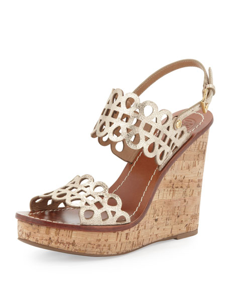 Nori Laser-Cut Wedge Sandal, Platinum
