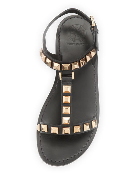Kenna Studded Leather Sandal, Black