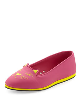 Charlotte Olympia Capri Cat-Face Rubber Flat, Bubble Gum/Yellow