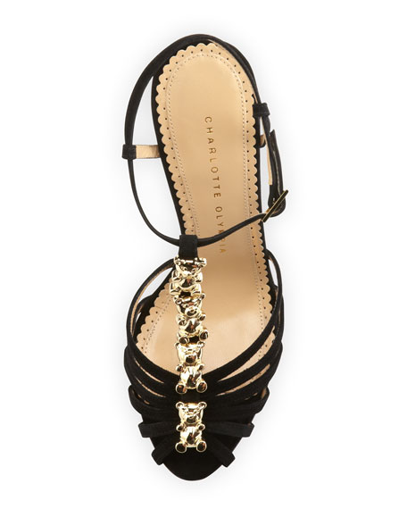 Gummi Bear Suede Sandal, Black/Gold