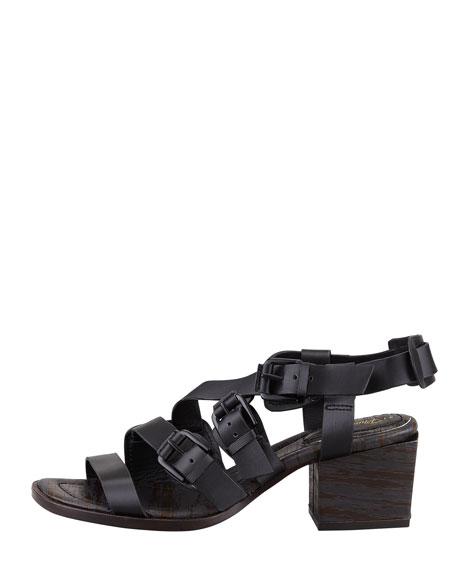 Bee Mid-Heel Sandal, Black