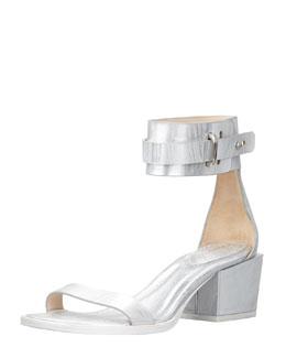 3.1 Phillip Lim Coco Metallic Mid-Heel Ankle Sandal