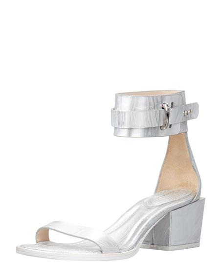 Coco Metallic Mid-Heel Ankle Sandal
