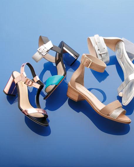 Henry Ankle-Strap Sandal, Beach/White