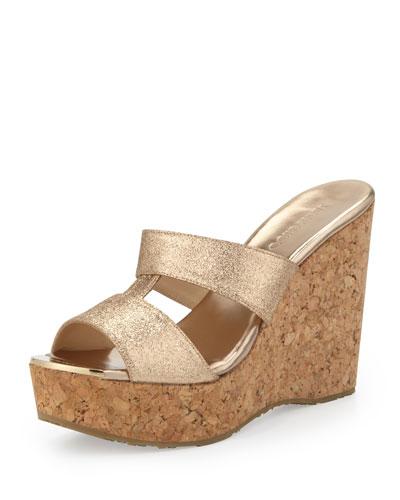 Jimmy Choo Porter Glitter Wedge Sandal, Gold