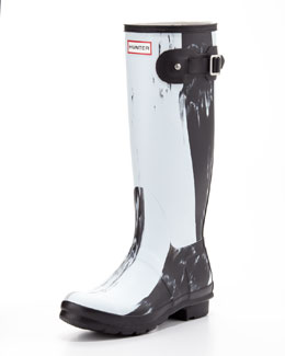 Hunter Boot Original Nightfall Welly Boot, Black/White