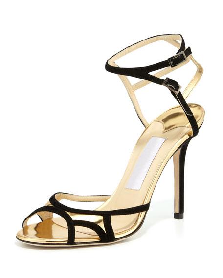 Rocks Ankle-Wrap Open-Toe Sandal, Black Gold