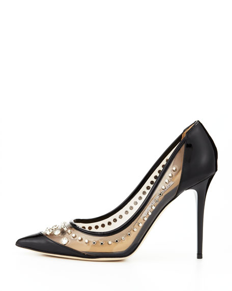 Sparkler Point-Toe Studded Pump, Black