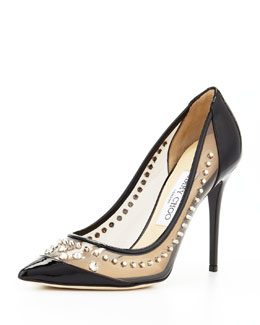 Jimmy Choo Sparkler Point-Toe Studded Pump, Black