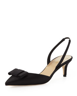 kate spade new york susi satin bow slingback pump, black