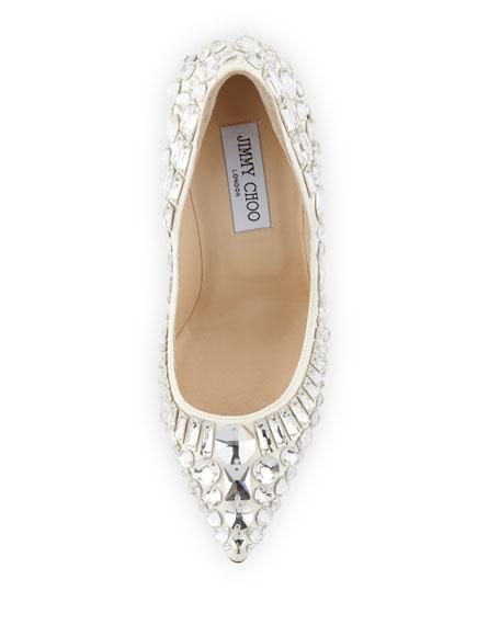 Trina Pointy-Toe Jewel Pump, White