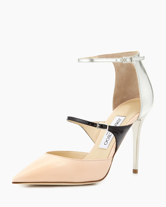 Sale alerts for Jimmy Choo Typhoon Strappy Point-Toe Pump, Pink/Black/Silver - Covvet