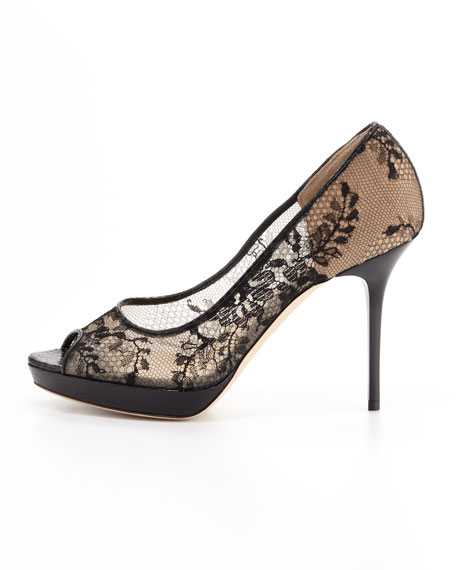 Luna Lace Platform Pump, Black