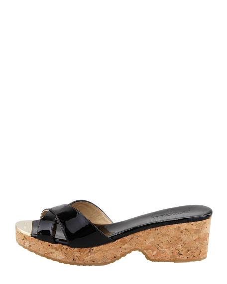 Panna Patent Crisscross Slide Sandal, Black