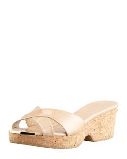 Jimmy Choo Panna Patent Crisscross Slide Sandal, Nude