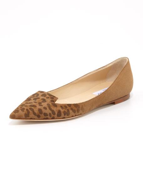 Attila Leopard-Toe Suede Flat, Brown