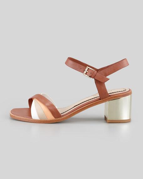 Rhea Golden-Heel Sandal, Brown Multi
