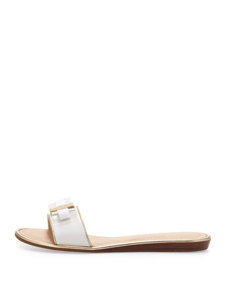 alicia bow slide sandal, white
