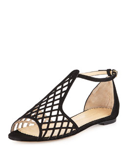 Charlotte Olympia Low Note Suede Jukebox Sandal, Black