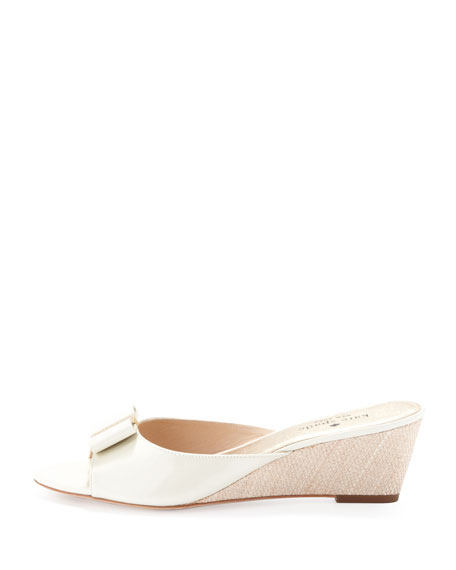 8d853a1527f kate spade new york dixie wedge with bow detail, cream