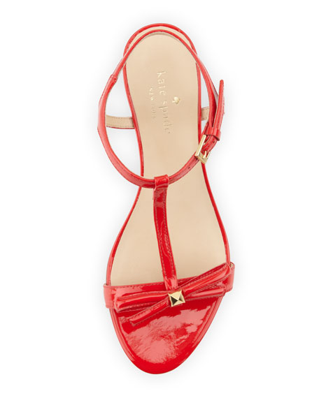 donna patent t-strap wedge sandal, maraschino red