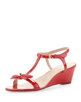 kate spade new york donna patent t-strap wedge sandal, maraschino red