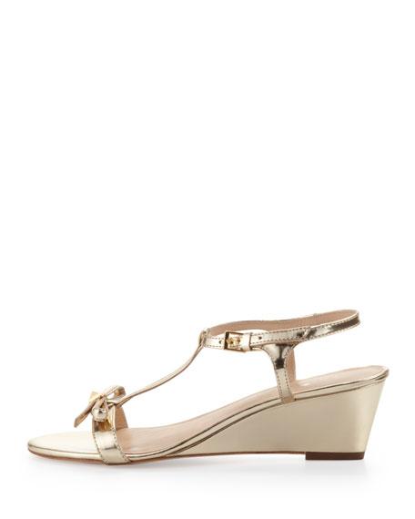 donna metallic t-strap wedge sandal, mushroom