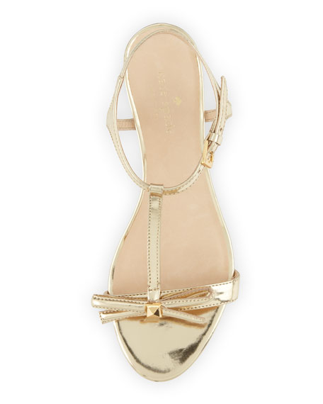 99017d4d6a25 kate spade new york donna metallic t-strap wedge sandal