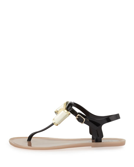 fab bow jelly thong sandal