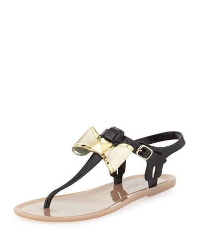 kate spade new york fab bow jelly thong sandal