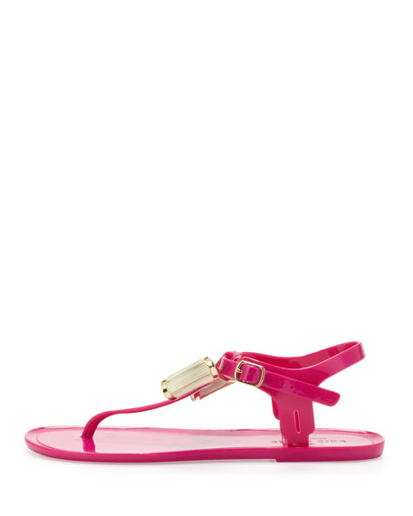 fab jelly bow thong sandal, fuchsia