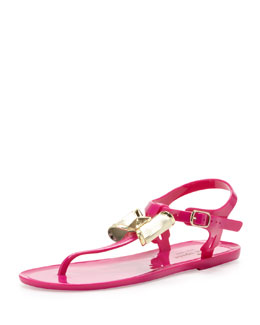 kate spade new york fab jelly bow thong sandal, fuchsia
