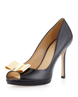 kate spade new york filipe patent peep-toe bow pump