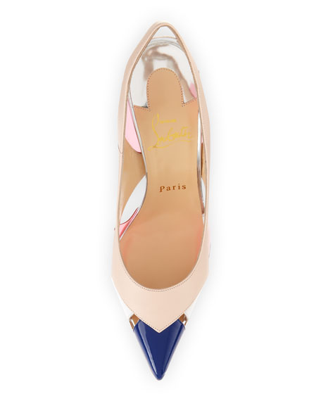 Air Chance Mixed Peekaboo Slingback Pump, Poudre
