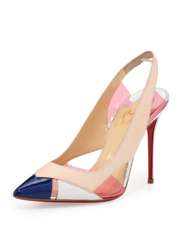 Christian Louboutin Air Chance Mixed Peekaboo Slingback Pump, Poudre