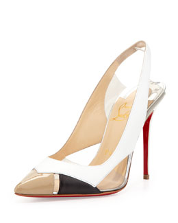 Christian Louboutin Air Chance Cutout Red-Sole Pump, White