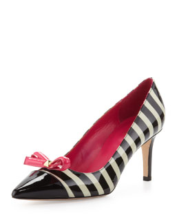 kate spade new york jaci striped patent bow pump