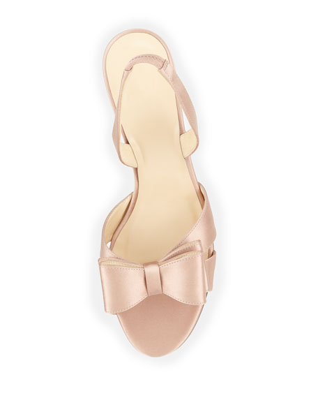 micah bow-detail satin slingback pump, rose petal pink