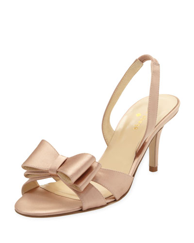 kate spade new york micah bow-detail satin slingback pump, rose petal pink