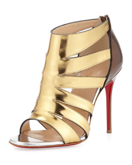 Christian Louboutin Beauty K Metallic Cage Red Sole Sandal