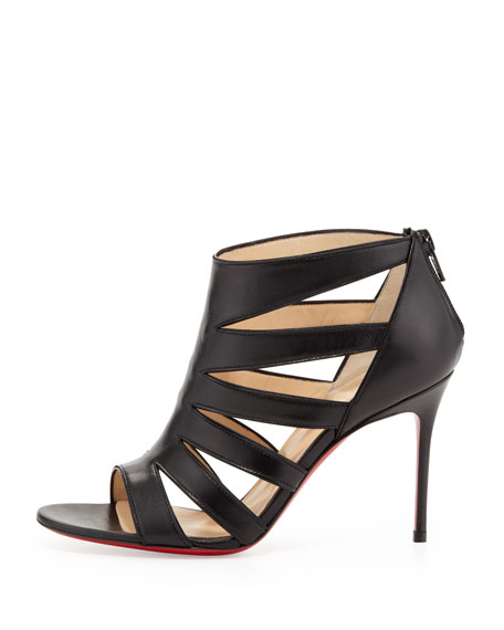 Beauty K Red-Sole Cage Sandal, Black