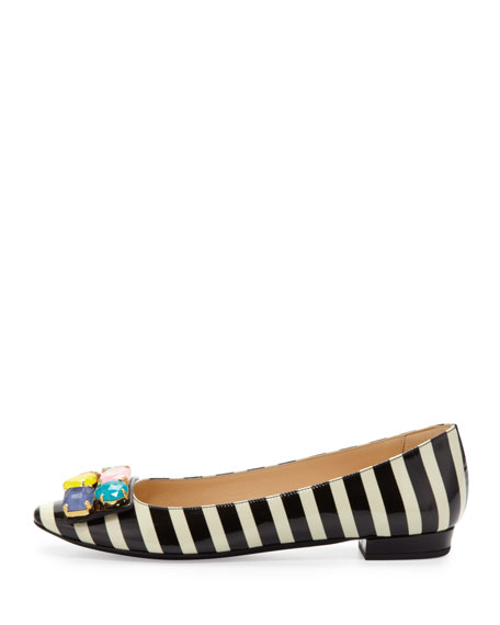 nadja jewel-detail buckle flat, black/cream