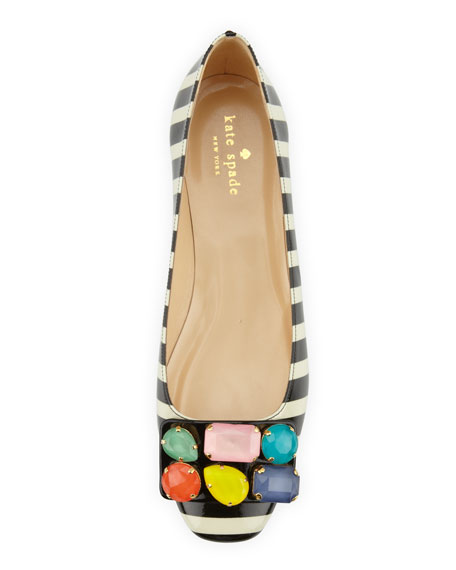 kate spade new york nadja jewel-detail buckle flat, black/cream
