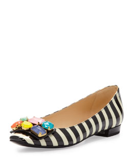 kate spade new york nadja jewel-detail buckle flat, black/cream