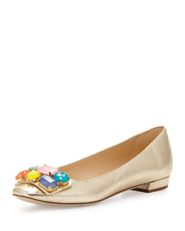 kate spade new york nadja jewel-detail buckle flat, platino
